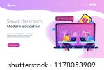 students with laptops sitting... | Shutterstock .eps vector #1178053909