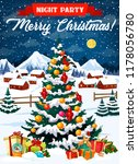 merry christmas poster or night ... | Shutterstock .eps vector #1178056780