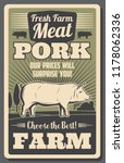 meat farm poster with pork. fat ... | Shutterstock .eps vector #1178062336