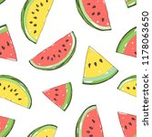 watermelon seamless pattern.... | Shutterstock .eps vector #1178063650
