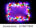 christmas lights frame on snow... | Shutterstock . vector #1178077849