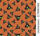 Stock vector halloween holiday seamless pattern background with hand drawing elements eps vector 1178087686