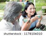 asian senior man and asian... | Shutterstock . vector #1178106010