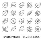 organic leaf thin line icons...