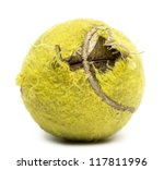 Stock photo chewed tennis ball against white background 117811996