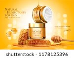 honey cream jar ads with... | Shutterstock .eps vector #1178125396