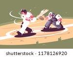 batter strikes the ball in... | Shutterstock .eps vector #1178126920