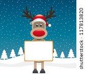 reindeer santa hat hold... | Shutterstock .eps vector #117813820