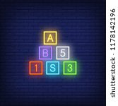 toy cubes neon sign. childhood  ...   Shutterstock .eps vector #1178142196