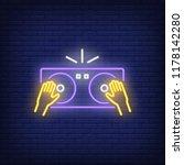 hands on dj mixer neon sign.... | Shutterstock .eps vector #1178142280