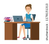 young woman at desk with laptop ... | Shutterstock .eps vector #1178151313