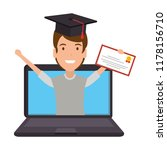 laptop with man student and... | Shutterstock .eps vector #1178156710
