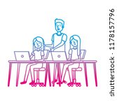 young women at desk with laptop ... | Shutterstock .eps vector #1178157796