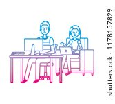 couple working in the office... | Shutterstock .eps vector #1178157829
