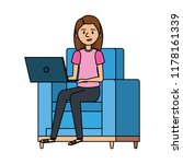 young woman at sofa with laptop | Shutterstock .eps vector #1178161339