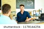 barista handsome stylish... | Shutterstock . vector #1178166256