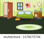 a green bedroom template ... | Shutterstock .eps vector #1178172736