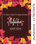autumn sale background with... | Shutterstock .eps vector #1178174476