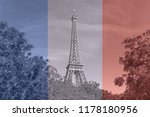 view on eiffel tower from park... | Shutterstock . vector #1178180956