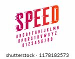 speed style font  alphabet and... | Shutterstock .eps vector #1178182573