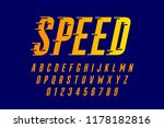 speed style font  alphabet and... | Shutterstock .eps vector #1178182816