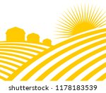 farm abstract landscape. fields ... | Shutterstock . vector #1178183539
