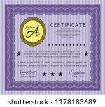 violet diploma or certificate... | Shutterstock .eps vector #1178183689