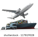3d rendering of a flying plane  ... | Shutterstock . vector #117819028