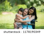 daughter visiting and cheering... | Shutterstock . vector #1178190349