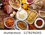 thanksgiving table with roasted ... | Shutterstock . vector #1178196343