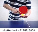 athlete use red racket serving...   Shutterstock . vector #1178219656
