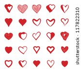 set of 25 hearts icons  vector. | Shutterstock .eps vector #117822310