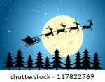 santa and reindeer flying... | Shutterstock .eps vector #117822769