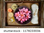 spa setting with  frangipani ... | Shutterstock . vector #1178233036
