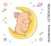 cute cartoon sleeping pig with... | Shutterstock .eps vector #1178241436
