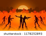 silhouette of people stand and... | Shutterstock .eps vector #1178252893