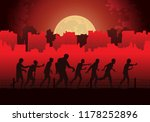 silhouette crowd of zombies... | Shutterstock .eps vector #1178252896