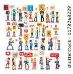 crowd of protesting people... | Shutterstock .eps vector #1178268229
