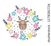 vector cute deer girl face ... | Shutterstock .eps vector #1178281726