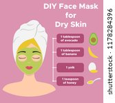 homemade facial mask with... | Shutterstock .eps vector #1178284396