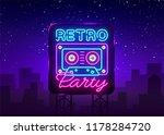 retro party neon poster  card... | Shutterstock .eps vector #1178284720