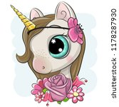 cute cartoon unicorn with... | Shutterstock .eps vector #1178287930