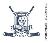 hockey goalkeeper retro logo  ... | Shutterstock .eps vector #1178291113