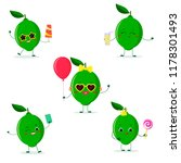 a set of five lime character in ... | Shutterstock . vector #1178301493