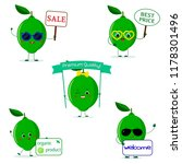 a set of five lime character in ... | Shutterstock . vector #1178301496