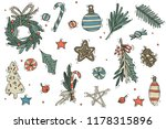 set of christmas decorations.... | Shutterstock .eps vector #1178315896