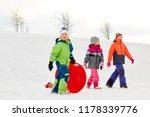 childhood  sledging and season... | Shutterstock . vector #1178339776