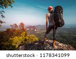 woman hiker with big backpack... | Shutterstock . vector #1178341099