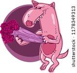 lover wolf holds flower corsage ... | Shutterstock .eps vector #1178349313