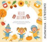 hello autumn  fall greeting... | Shutterstock .eps vector #1178353693